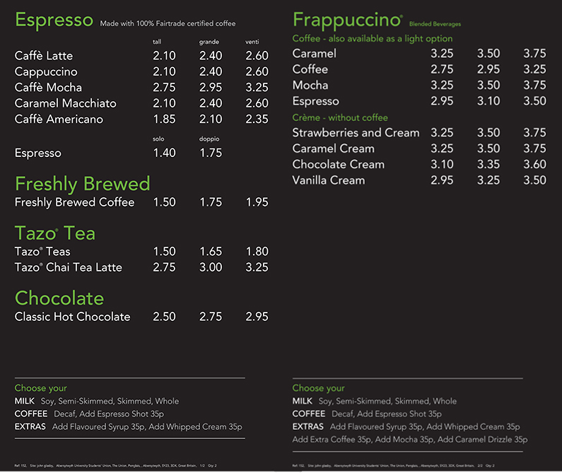 Prices For: Menu And Prices For Starbucks